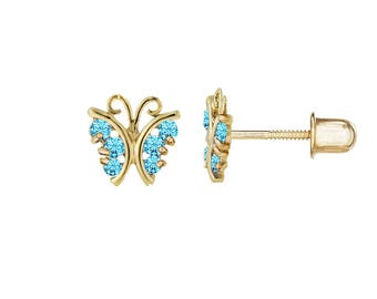 14kt Solid Gold Kids Butterfly Screwback Stud Earrings