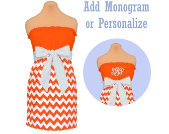 Orange + White Chevron Dress