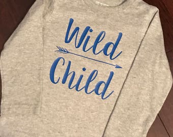 Toddler Boy Wild Child T-Shirt - Short Sleeve or Long Sleeve Funny Top - Customized Colors