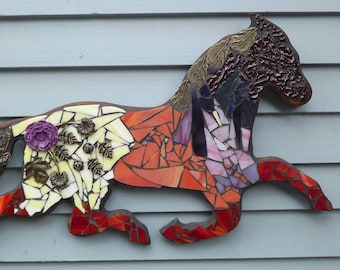 mosaic stained glass horse