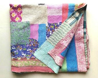 Sale! USD 30 0ff! Exquisite Vintage kantha quilt /throw/blanket/Sari quilt/coverlet/bedding decor/ home decor/ housewarming/Ready to ship!!
