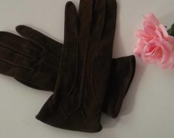 Ladies Vintage Brown Suede gloves size 7 1950's  Scotland UK