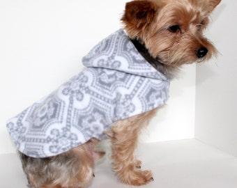Elegant Dog Hoodie, XS S M L Silver/Grey Medallion Fleece Dogs Jacket coat, READY TO Ship Designer Fashion Dog Clothing
