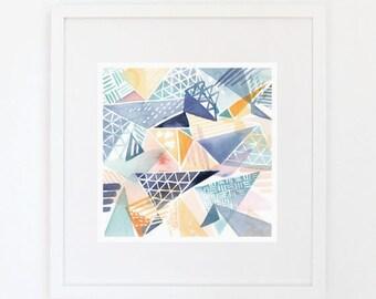 Triangle Overlay - Watercolor Art Print