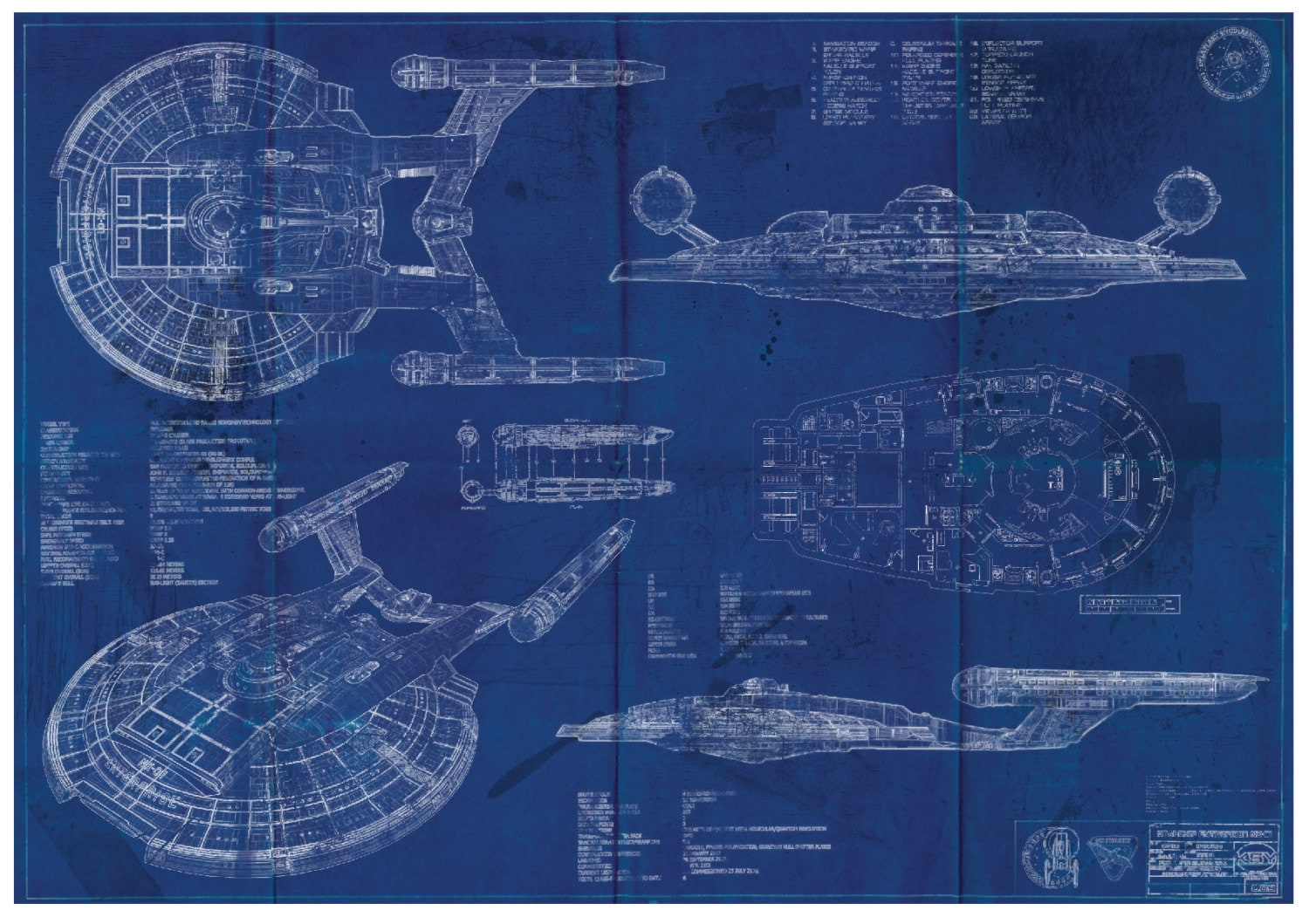 Star trek enterprise nx 01 blueprint art print a2 420mm594 zoom malvernweather Image collections