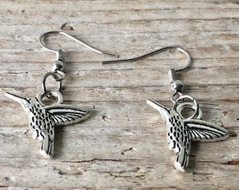Hummingbird Earrings \\ Hummingbird Jewelry \\ Bird Earrings \\ Bird Jewelry \\ Silver Jewelry \\ Mother's Day Gift