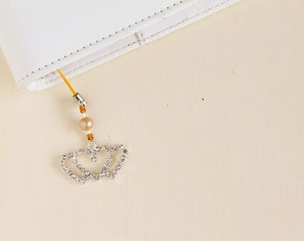 Kikki k planner charm, planner binder charms, pendants for planner, yellow charm with hearts and beads