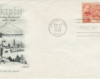 Oregon Cenntenial First Day of Issue Stamp and Envelope