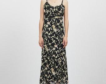 Vintage Long Flowered Dress/ Size 42