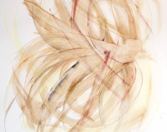 """Large original watercolor abstract painting 19.8""""x25.9"""" Restrained colors Beige Gestural artwork. Botanical hints Minimalism art Monochrome"""