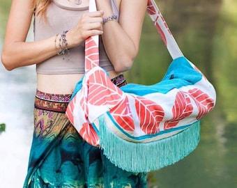 Large Yoga Mat Bag, Straw Mat Beach Bag, Yoga Bag with Zipper, Boho Bag, Coral Tote Bag, Turquoise Beach Tote, Large Gym Bag, Yoga Mat Strap