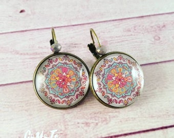Mandala earrings, Glass cabochon, cameo earrings, mandala, boho pendant earrings
