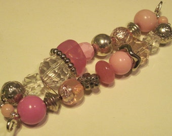 Pink and clear with silver accent beads double stranded interchangeable watch band