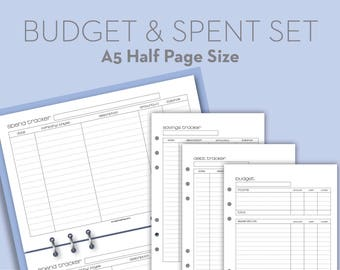 Printable budget, spend, debt, savings trackers finance planner - Filofax A5 half page size organizer insert refills - Black