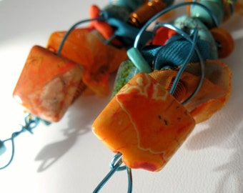 Long Multi Media Earrings. FIONA. Orange and Turquoise blues. Mixed Media Collage Style. Textiles, Wire And Beads