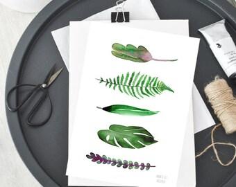 Green leaves botanical artwork from watercolor painting by Annemette Klit Green leaves Fern Monstera Bambus Succulent plant art illustration