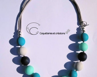 Collier perles bleues fimo polymère camaïeux de bleu,