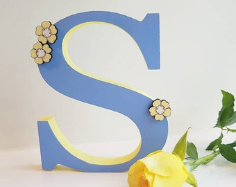 Hand decorated 15cm wooden initial personalised children's kids nursery bedroom decor decorations accessories ornaments letter