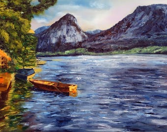 Oil Painting Seascape Landscape Mountain Lake Austria Sea Wolfgangsee Fishing Boat Blue Large Size Handmade Wall Decor Wall Art