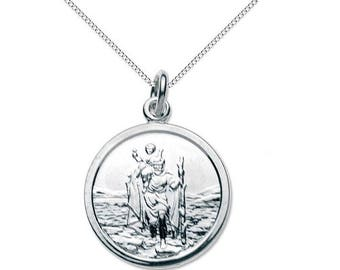 Sterling Silver St Christopher pendant on a Sterling Silver  16 inch necklace.
