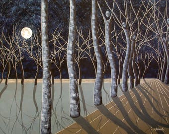 Down the Road, Surreal Landscape Print, Midnight Blue, Tree People, Full Moon, Moon Scape