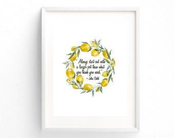 """Julia Child Quote """"Always start out with a larger pot than what you think you need."""" Kitchen Printable"""