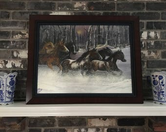 Original oil painting of horses running in the snow