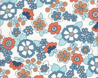 Timeless Treasures Organic Suzi Retro Floral on White - Half Yard