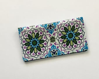 Blue Checkbook Cover, Mandala Fabric Checkbook Cover, Checkbook Wallet, Checkbook Case