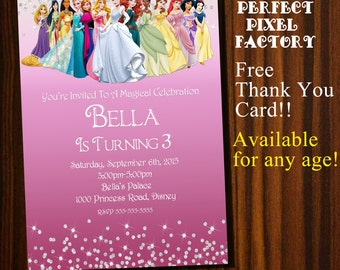 Princess Invitation,Princesses Invitation,Princesses Invitations, Disney Princesses invitation, Disney Princess Invitation, Disney Princess