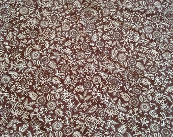 Brown and Biege Floral Print Cotton Fabric 3 1/4 Yards  X1035