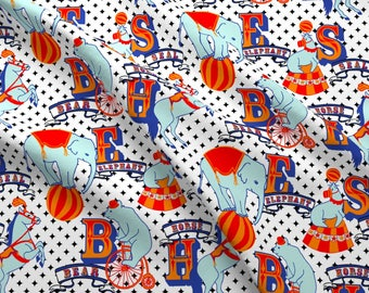 Animal Alphabet Fabric - Circus Baby Shower Nursery Circus Animals By Fernlesliestudio - Elephant Cotton Fabric by the Yard with Spoonflower