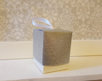 Silver Glitter Favour Boxes