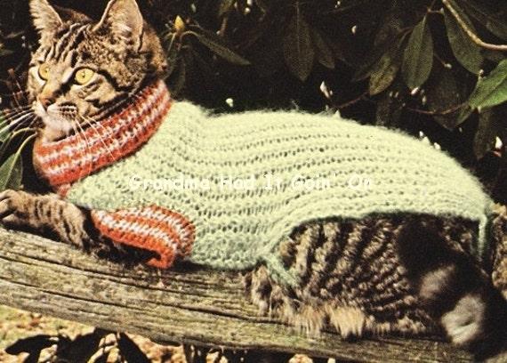 Cat Sweater Knitting Pattern 70s Cat Coat Mohair Sweater