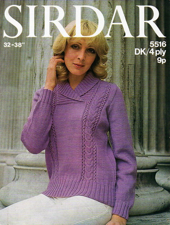 Ladies Shawl Collar Sweater Knitting Pattern Pdf Womens Cable Panel
