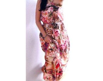 Halter maxi dress- Roses flowers print dress-Women pink print dress- Size Small -Romantic flowy dress- Sexy long pockets dress-Fashion dress