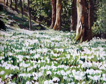 Snowdrop Carpet mounted print of an original oil painting by Tracy Butler