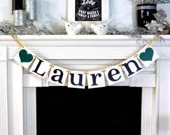 Custom Name Banner / Baby Shower Decoration / Kids Room Decor / Child's Name / Personalized Name Wall Art / Nursery Garland Sign / Baby Name