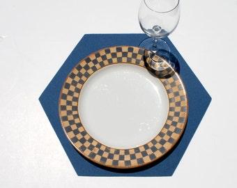 Hexagon Felt Placemat in 3mm Thick Virgin Merino Wool Felt Fabric Geometric Honeycomb Place Mat