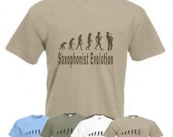 Evolution To Saxophonist  t-shirt Funny Saxophone T-shirt sizes Sm TO 2XXL