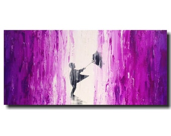 Large abstract painting industrial wall art - 18 X 36 Inches JMJartstudio -Violet Purple -Oil painting  fathers  day gift