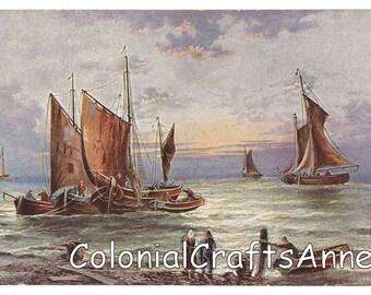 Art Postcard - Postkarte - Carte Postale - Six Point Star Serie 200 - Fishing Boats