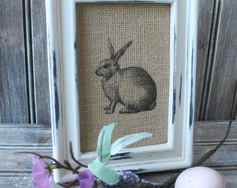 Farmhouse Decor,Vintage Bunny Print,Burlap Easter Bunny, Burlap Decor, Easter Decor,Bunny Decor, Bunny Frame, Easter Print, Vintage Bunny