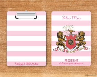 Phi Mu Striped Crest Sorority Personalized Clipboard