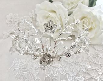 Custom Myrtle Crown, Myrtle Tiara, Silver Plated Leaf Tiara, Antique German Tiara, Vintage Bridal Crown, vintage tiara, flower crown GD1722