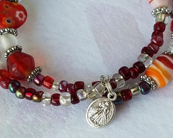 Catholic Bracelet Our Lady Of Guadalupe Jesus Divine Mercy Medal Red and White Memory Wire Bracelet Catholic Gift Whimsical Jewelry