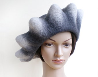 Chapeau béret nuances de gris large taille en laine feutrée fait main pour femmes, chapeau décalé « rayons de soleil »