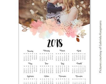 INSTANT DOWNLOAD - 12x18 Calendar template 2018 - CAL024