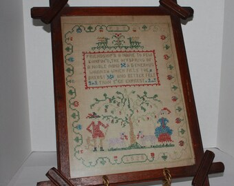 tramp art Frame and Antique Sampler in Wooden Frame - Cross Stitched - Arts and Craft Frame Friendship Fiber Art