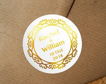 Personalized Gold Foil Wedding Labels, Personalized Sticker Labels, Wedding Sticker, #03